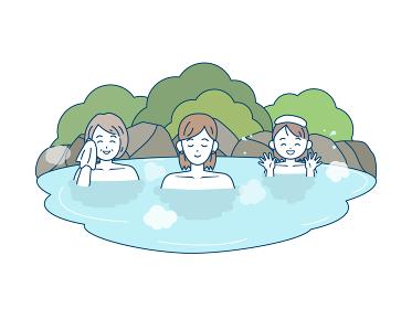 温泉に入る家族のイラスト 女湯