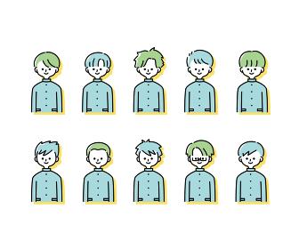 冬の制服を着た様々な男子学生のイラスト(上半身)