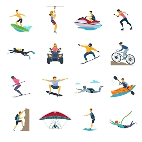 Extreme Sport Activities Flat Icons Collection . Extreme sport activities flat icons collection with whitewater canoeing skydiving and free stile motocross isolated vector illustrations