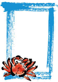 ズワイガニの和風の手描きイラスト入りPOP コピースペース有りPOP