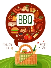 BBQ Picnic Flat Invitation Poster . BBQ picnic invitation flat poster with barbecue accessories icons and basket on fresh green lawn  vector illustration