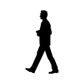 歩いている人物・歩行者 全身(横向き)シルエットイラスト/ ビジネスマン・サラリーマン