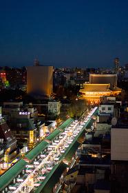 浅草・浅草寺・俯瞰・仲見世通り(夜景)
