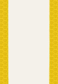 和風和柄背景フレーム|伝統模様 青海波文様(せいがいは) 背景 縦位置 左右帯有り黄色系
