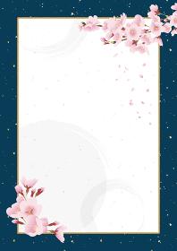 桜の花 和風背景素材 祝賀イメージ(紺色、青 和紙 縦長 A3・A4比率)