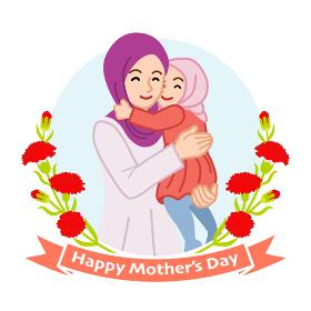 子供を抱きしめる母親 ムスリム - 母の日コンセプトイラスト