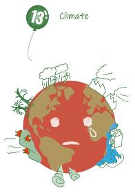 気候変動のシンプルタッチイラスト(南半球)13