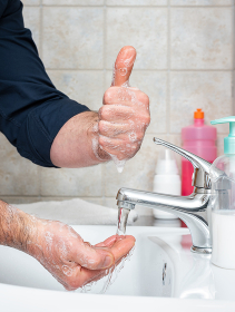 With handwashing, you can prevent infection with Coronavirus, OK. Covid-19 pandemic prevention.
