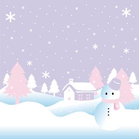 冬 雪 雪だるま 家 風景 背景 コピースペース イラスト