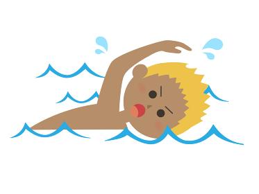 泳いでいる男性のイラスト