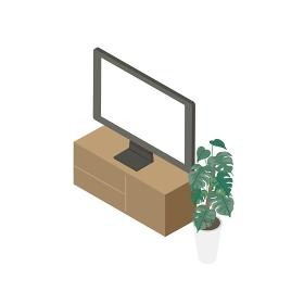 テレビと観葉植物のイラスト アイソメトリック構図