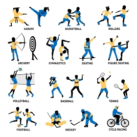 Set Of Sportsmen Silhouettes. Set of sportsmen silhouettes involving in different games and activities isolated vector illustration