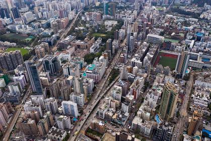 Kowloon city, Hong Kong 24 September 2018:- Drone fly over Hong Kong urban city