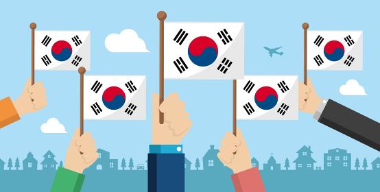 手持ち国旗 バナーイラスト ( 愛国心・イベント・お祝い ・デモ) / 韓国