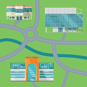 Shopping Center Concept Map Vector Illustration.. Shopping center map concept. Flat design. Modern commercial building vector illustrations for web design, navigation services, banners. Shop, mall, supermarket, business center on color background.