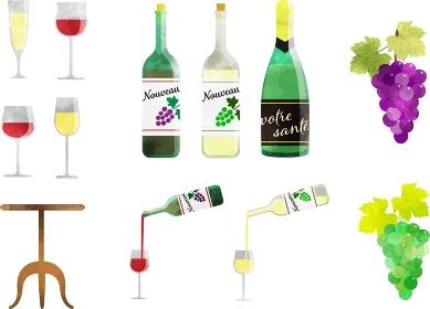 ワインやシャンパン関連の素材セット 水彩風