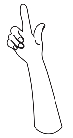 上向きの手 白黒 爪あり