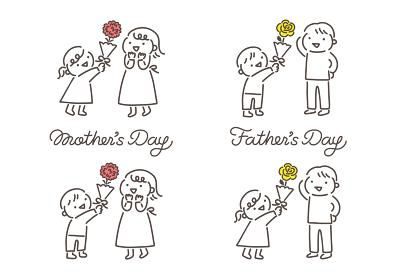 母の日と父の日 花をプレゼントする子供のイラストと筆記体ロゴ