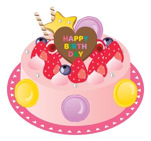 苺とストロベリークリームとマカロンのお誕生日ケーキ