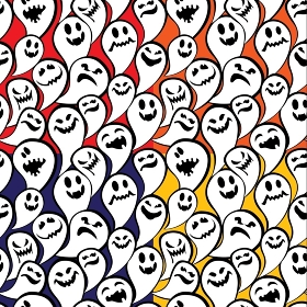 Seamless pattern with funny ghost. Happy Halloween background.