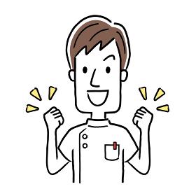 ベクターイラスト素材:やる気を出す若い男性看護師
