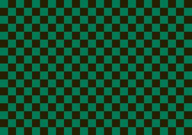 和紙 市松背景模様 緑色×黒