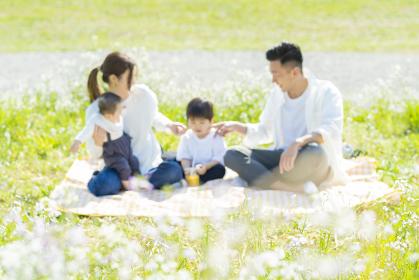 ピクニックを楽しむ親子(ピントは人物の手前にある草に合わせています)