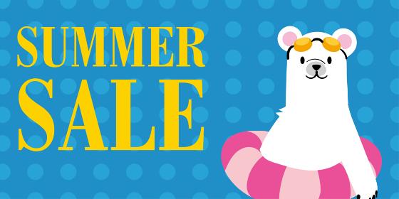 サマーセール 夏の販売促進バナーテンプレート 浮き輪をつけたホッキョクグマのイラスト SUMMER