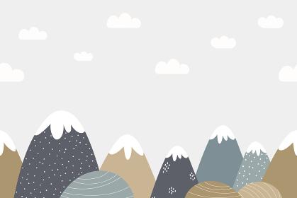 シームレスな山と空の風景背景素材