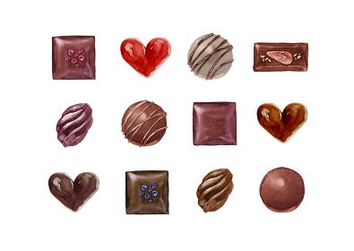 バレンタイン チョコレート セット 水彩 イラスト