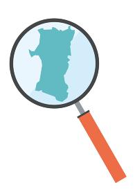 虫眼鏡ルーペ拡大鏡と秋田県の詳細地図東北地方|都道府県別地図のイラスト ベクターデータ