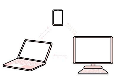 パソコンの通信表現イラスト