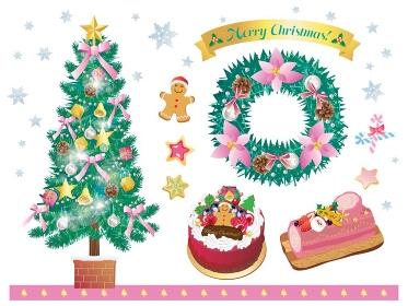 クリスマスツリーとリースとケーキのセット ピンク