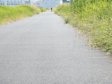 夏の青空と日本の郊外の風景 埼玉県川口市 8月