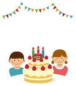 ハッピーバースデー 誕生日ケーキと子供 イラスト