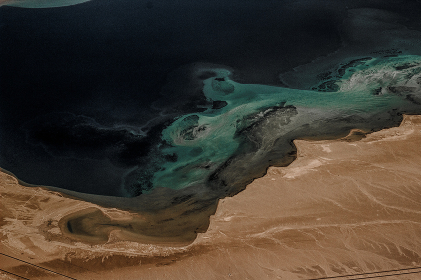 the coast of the red sea from the height of the aircraft