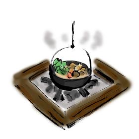 手描きイラスト素材 イロリ 囲炉裏 鍋 昔の家 鍋物