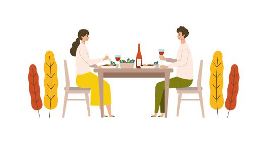 秋の食事とワインを楽しむ男女のイラスト