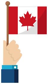 手持ち国旗イラスト ( 愛国心・イベント・お祝い・デモ ) / カナダ