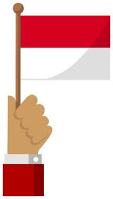手持ち国旗イラスト ( 愛国心・イベント・お祝い・デモ ) / インドネシア