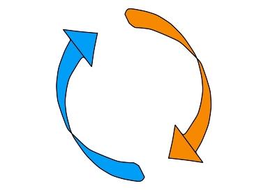 シンプルな絞りのある回転矢印「黒淵あり」