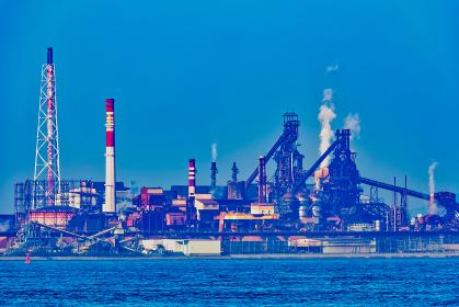 関門海峡を望む北九州工業地帯【福岡県】