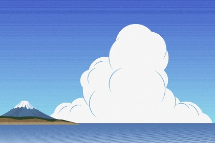 海と富士山 イラスト