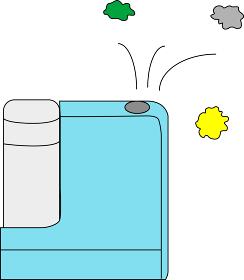 ウイルスを倒す青色の加湿器
