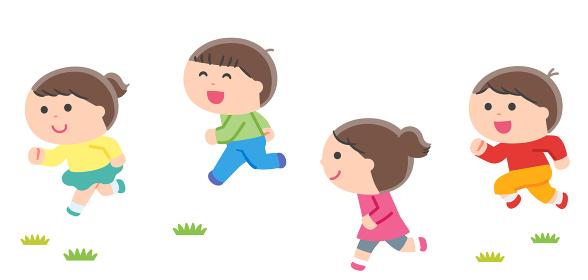一緒に走る子どもたち / 輪郭線なし