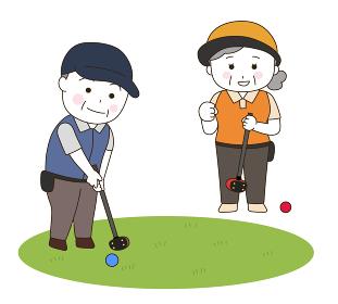 パークゴルフを楽しむ男女 イラスト(白色)