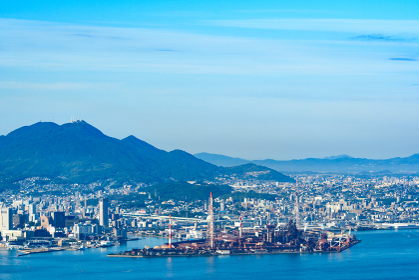 風師山展望台から望む北九州工業地帯