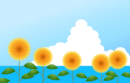 背景素材:向日葵と海と入道雲