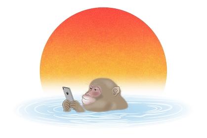 スマートフォンを持って温泉に入るサル イラスト