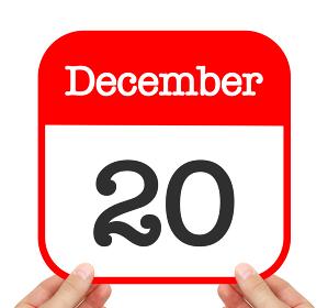 December 20 written on a calendar